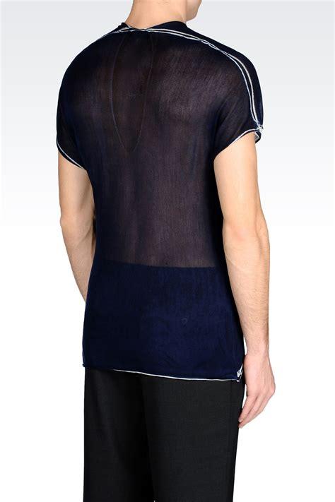 T Shirtskaos Priaemporio Armani 1 lyst emporio armani runway t shirt in silk in blue for