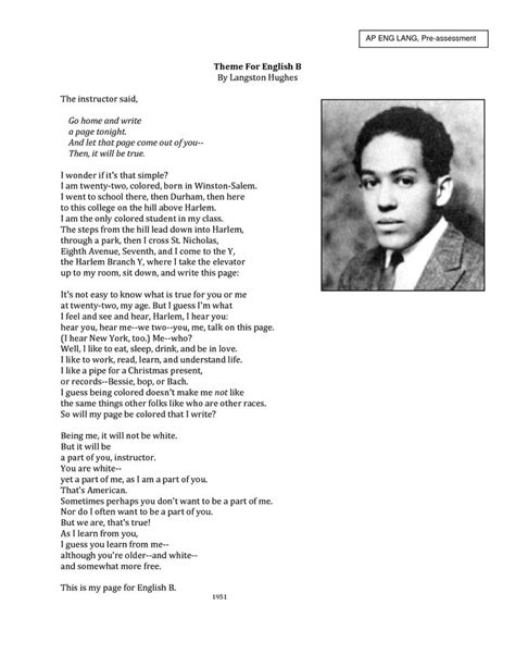 themes for english b theme for english b langston hughes frame it pinterest