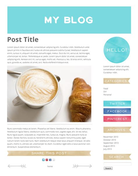 blog layout options free pretty watercolour blog graphics