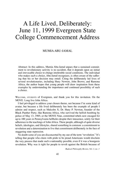 Exle Writing Article Review by A Lived Deliberately June 11 1999 Evergreen State College Commencement Address Mumia