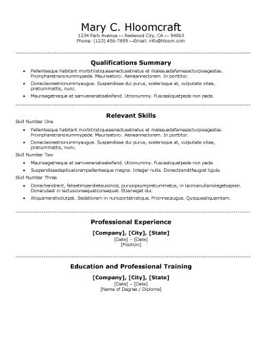 30 Basic Resume Templates Traditional Resume Template
