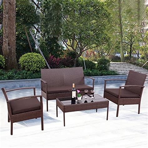 4 Pc Conversation Set Furniture Rattan Wicker For Outdoor 4 Wicker Patio Furniture