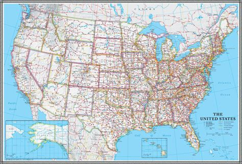 america road map poster united states us usa wall map poster classic blue edition