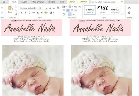 baby birth card template how to make child birth announcement cards in word