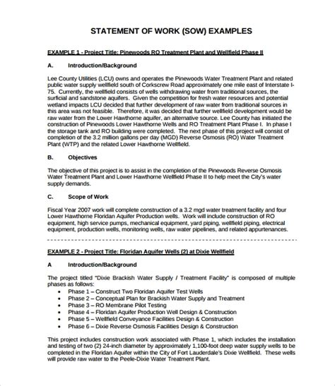 scope document template inspirational free statement of work