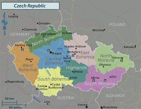 karte deutschland tschechien administrative map of republic republic