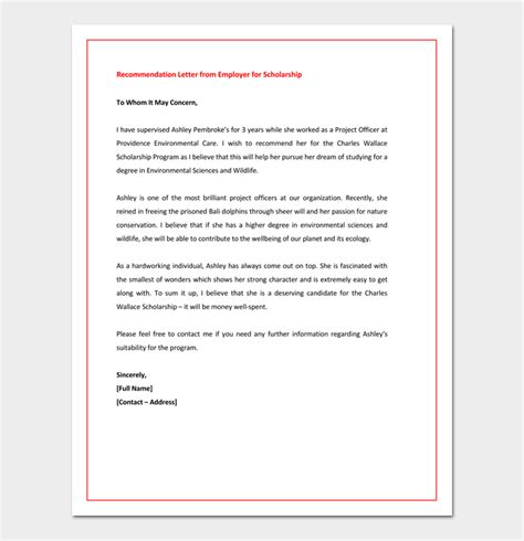 Scholarship Letter Of Recommendation Sle From Employer Scholarship Letter To Employer 28 Images Sle Letter Of Recommendation For Scholarship 10