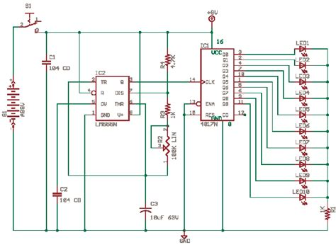 layout running led schematics of delabs running lights with cd4017