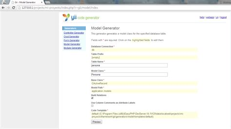 tutorial de yii framework en español yii framework en espa 241 ol formularios y bases de datos en yii