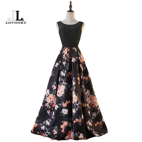 pattern for lace up back dress lovoney sweep train flower pattern lace evening dress long