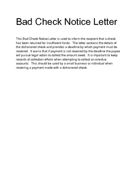 Rent Check Bounced Letter gallery of bad check letter template letter template 2017 returned check letter template 4