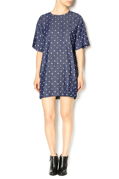 Denim Dress Polkadot Murah babel fair polka dot denim dress from nolita by babel fair soho shoptiques