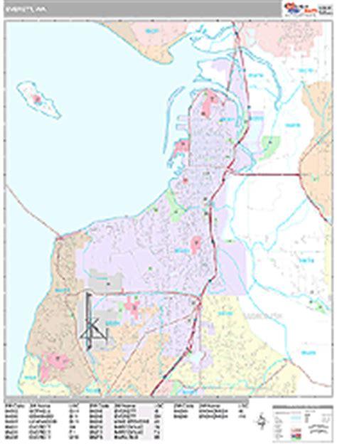 zip code map everett wa everett washington zip code wall map premium style by