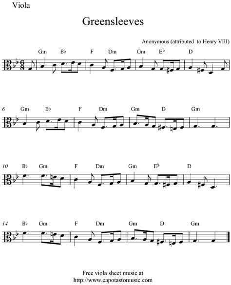 free printable sheet music viola free viola sheet music greensleeves