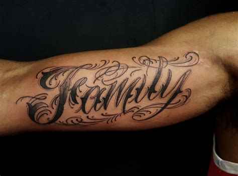 tattoo on bicep custom lettering archives chronic ink