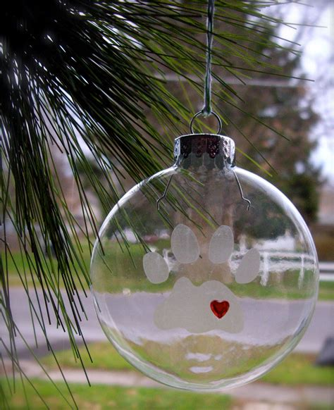 glass etched ornament paw print ornament cat ornament