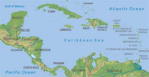 central america the caribbean map maps central america the caribbean
