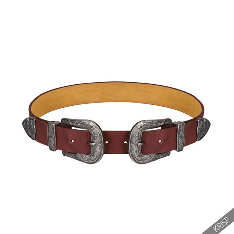 duble buckle thick faux leather western belt womens