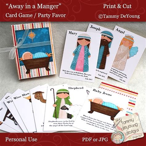 make your own go fish cards away in a manger nativity card digital
