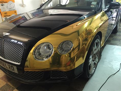 gold chrome bentley bentley gt chrome gold wrap wrapping cars car wrap