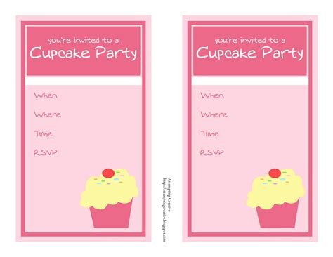 cupcake invitations template 8 best images of cupcake birthday invitation