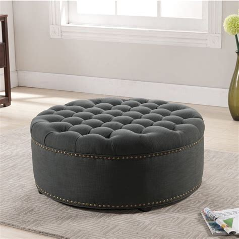 furniture frames for upholstery wholesale baxton studio iglehart gray linen modern tufted ottoman by