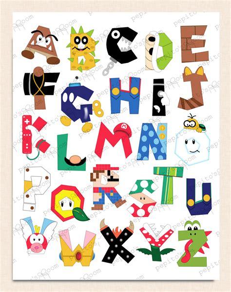 Pin Bros Printing print ink mario bros alphabet poster wall 8x10 16x20 diy digital printable pdf by