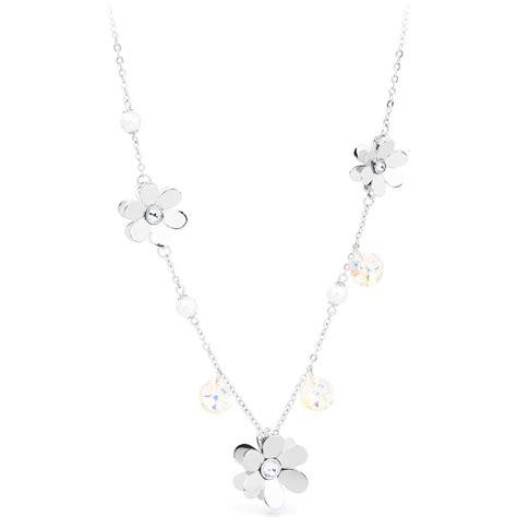 gioielli con fiori collana brosway donna jardin con fiori cristalli e perle
