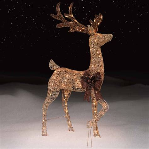 christmas outdoor lighted deer family holiday light decorati 48 quot gold buck with 150 lights kmart