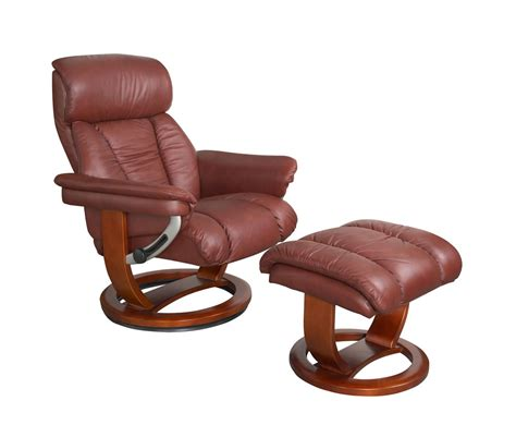 Veronica Chestnut Genuine Leather Swivel Chair And Foot Stool Real Leather Swivel Recliner Chairs