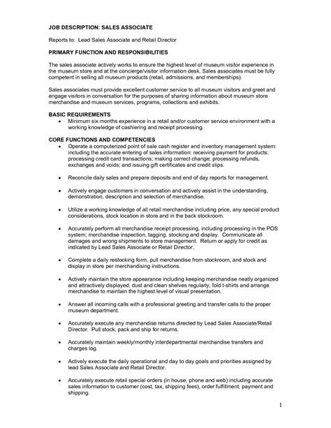 Resume Exles Descriptions retail sales associate resume description sales associate