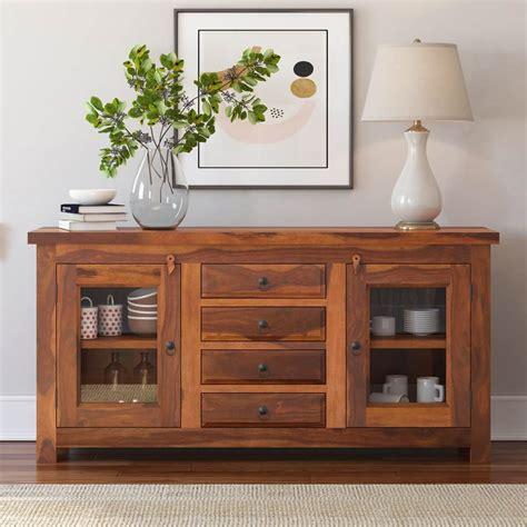 fremont rustic solid wood glass door drawer sideboard