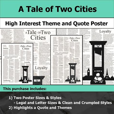 theme exles in a tale of two cities a tale of two cities visual theme and quote poster for