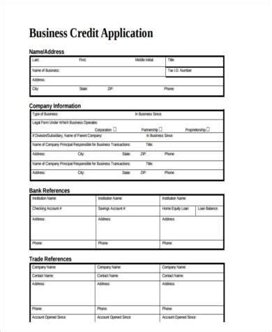 Hifi Corp Credit Application Form 8 Business Application Form Sles Free Sle Exle Format