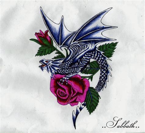dragons and roses tattoos with roses by inky