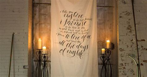 Wedding Vow Backdrop by Calligraphy Wedding Vow Fabric Backdrop For Ceremony Cake
