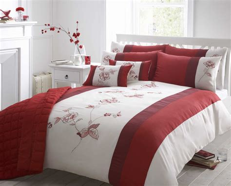 duvet bedding beautiful red colour embroidered faux silk duvet cover