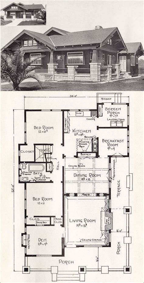 california bungalow floor plans bungalow house plan california craftsman 1918 home