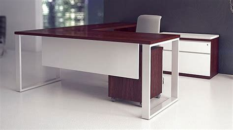 Chair Office Furniture Design Ideas Furniture L Shaped Desk With Pedestal And Credenza Desk Plus White Office Chair For Narrow