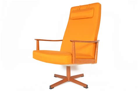 Danish Mid Century Modern Tangerine Swivel Lounge Chair   eBay