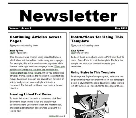 Newsletter Template Newsletter Templates Word Excel Newsletter Template