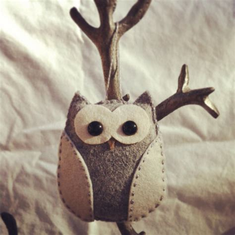 Handmade Owl Ornaments - wool felt owl ornament grey by feltloved on etsy