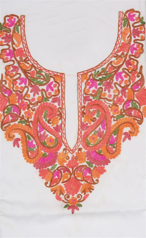 embroidery design for kurta neck chic white two piece salwar kameez fabric from kashmir