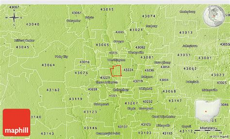 ohio physical map physical 3d map of zip code 43214