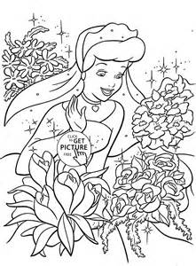 princess cinderella and many flowers coloring page for