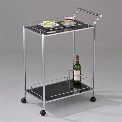 Kitchen Serving Cart by Mace Buffet Kitchen Dining Serving Cart Black Glass Wine