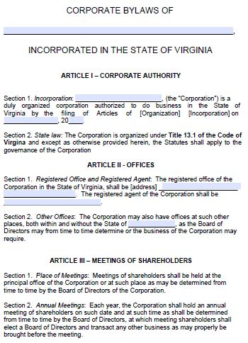 Free Virginia Corporate Bylaws Template Pdf Word Corporate Bylaws Template Free