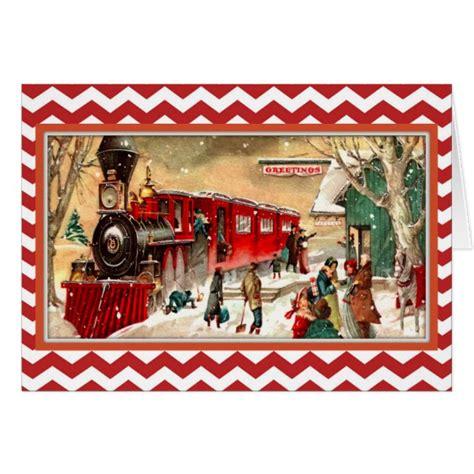 vintage red christmas train card zazzlecom