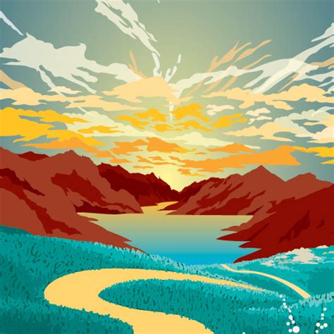 Landscape Illustration 40 Stunning Vector Landscape Illustrations