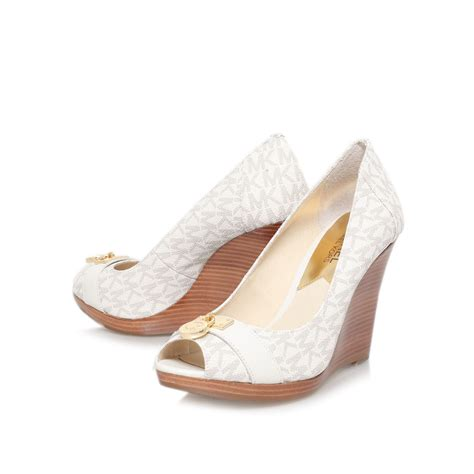 michael kors shoes michael kors hamilton wedge peep toe court shoes in